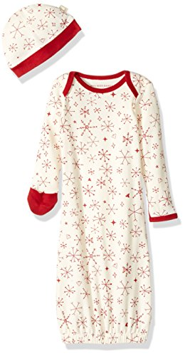 Burt's Bees Baby Baby Organic Holiday Gown and Cap Set One Size, Falling Snowflakes, Single - Holiday Gown Sets