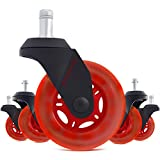 STEALTHO Replacement Gamer Chair Wheels Set of 5 - Protect Your Floor - Quick & Quiet Rolling Over The Cables - No More Chair Mat Needed - No Brakes (Red Polyurethane, 10 for IKEA)