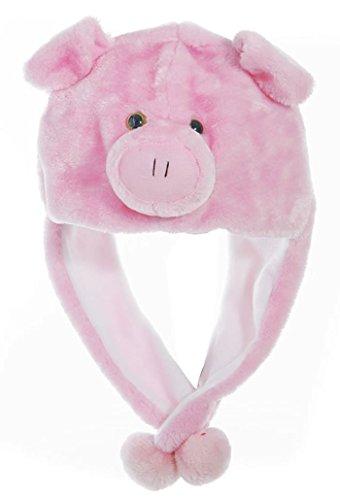 Animal Head Super Soft Plush Childrens Hat - - Pigs Soft
