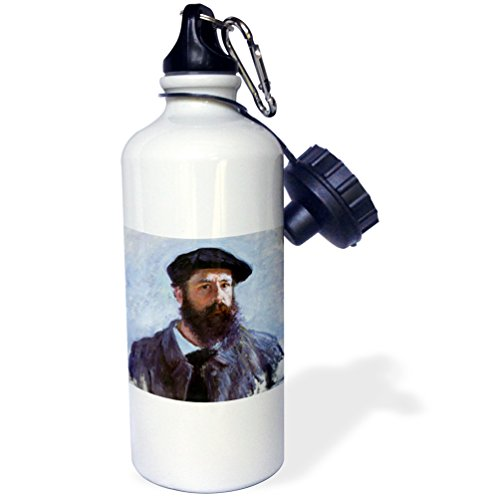 - 3dRose Self-Portrait with a Beret, Claude Monet Painting Dated 1886, PD-US-Sports Water Bottle, 21oz (wb_179217_1), 21 oz, Multicolored