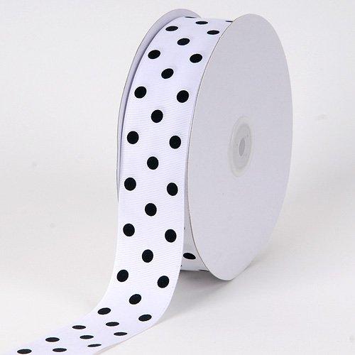BBCrafts White with Black Dot Grosgrain Ribbon Polka Dot 3/8 inch 50 Yards