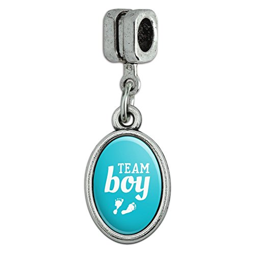 Blue Footprints Italian - Team Boy Baby Blue Footprints Italian European Style Bracelet Oval Charm Bead
