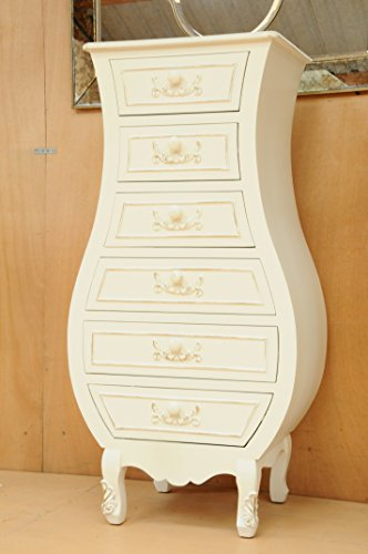Annecy Shabby Chic Bedroom Large 6 Drawer Chest Ivory White