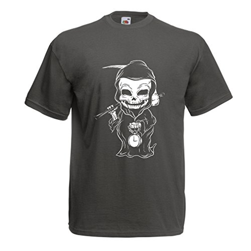 lepni.me T Shirts For Men The Grim Reaper, Death With Sickle Skeleton - Scarry Horror Design (Small Graphite Multi Color)