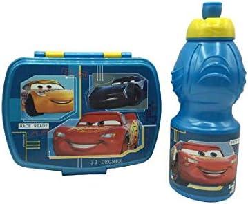 CM Pack 2pcs Botella de Agua plastico Infantil 400ml- Fiambrera sandwicheras para niños, cantimplora a Prueba de Fugas sin BPA (Azul-Car)