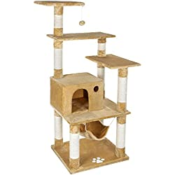 SONGMICS Cat Tree Condo Tower with Scratching Posts Kitty Bed Furniture Play House Beige UPCT88M