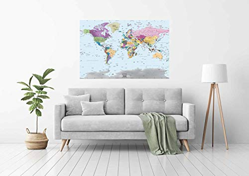 Academia Maps World Map Wall Mural - Modern Colorful Map - 53 x 36 - Premium Self-Adhesive Fabric - Professional-Grade DIY by Academia Maps (Image #1)