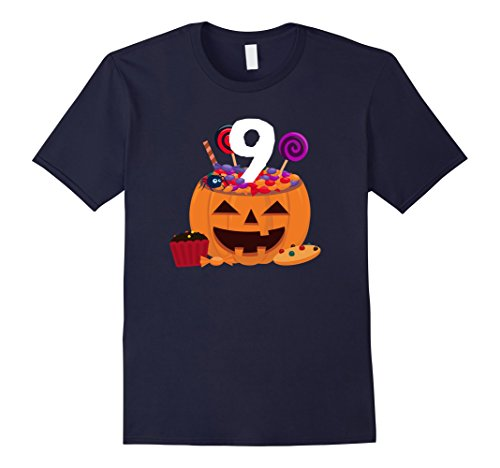 Old Navy Cupcake Costumes (Mens Pumpkin O' Lantern T-shirt 9th Birthday Kids Youth 2XL Navy)
