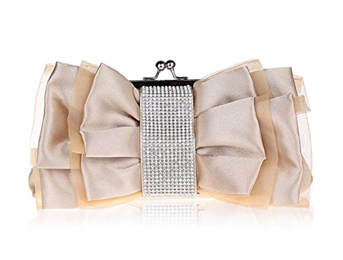 Crystal Pleated Ladies Evening Studded Wedding Cocktail Bow Handbag Party Apricot Clutch Bridal Satin EqESArn