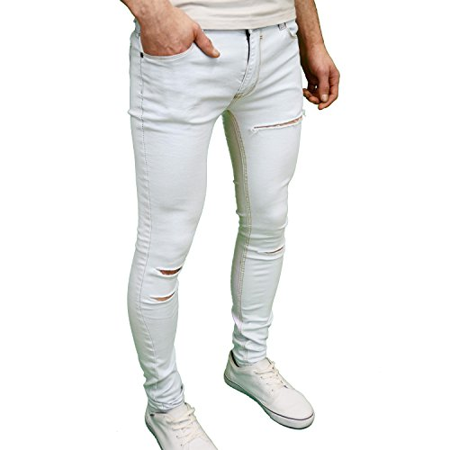 SoulStar Fit Jeans funda elástico hombre para Skinny Ripped de Super qFnrqT1