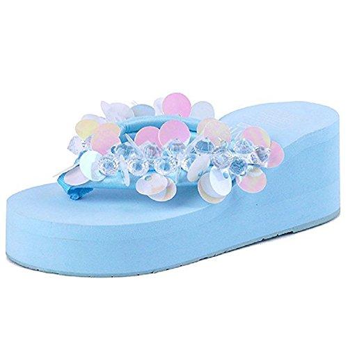 Skid JULY Sequins Womens Glitter Flops Dressy T Ladies Sandals Platforms Non Clip Toe Flip Wedges Slides Blue Beach Sparkle C1FnPxpwx