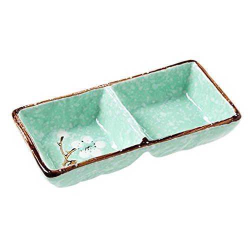 Divided Sauce Dish - SOCOSY 2 Compartments Ceramic Floral Sauce Dish Seasoning Dishes Sushi Dipping Bowl Appetizer Plate Divided Serving Dish(pink,blue,green)