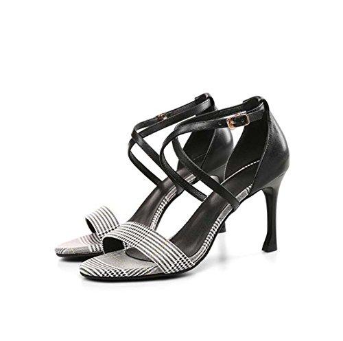 de New Sandalias de Buckle Strap alto Zapatos pescado tacón Negro de boca Summer tartán de de Fine mujer cuero SHINIK de Cross Zapatos Iz7x6