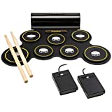 Ivation Portable Electronic Drum Pad - Built-in Speaker (DC Powered) - Digital Roll-Up Touch Sensitive Drum Practice Kit - 7 Labeled Pads and 2 Foot Pedals for Kids Children Beginners