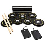 Ivation Portable Electronic Drum Pad w/Built-In Speaker – Digital Tabletop Roll Up Drum
