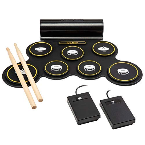 Ivation Portable Electronic Drum Pad - Built-In Speaker (DC Powered) - Digital Roll-Up Touch Sensitive Drum Practice Kit - 7 Labeled Pads and 2 Foot Pedals - Holiday Gift for Kids Children Beginners (Best Portable Drum Kit)
