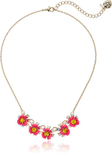 Betsey Johnson Womens Granny Chic Bright Pink Flower Frontal Necklace, One Size