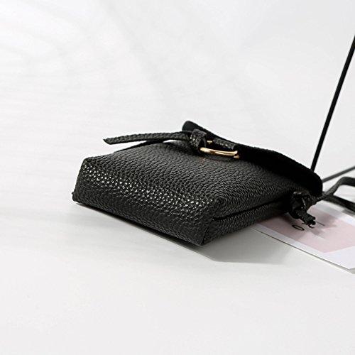 del del cruzado Majome cuero totalizador bolso la de del mini las del metal del PU anillo de teléfono sostenedor del mujeres hombro Bolso Negro del del arpaf