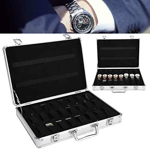 yuyte Watch Storage Box, 32 Grids Aluminum Alloy Suitcase Watch Display Storage Box Watch Organizer Case