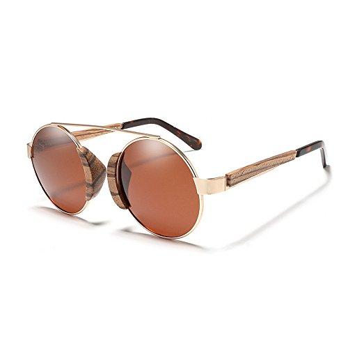sol polarizadas de protección las de para madera metálico sol Hombres de de Gafas vendimia mujeres de Gafas sol Classic Gafas de de Gafas sol Marrón conduc de UV marco de redondo Retro la unisex de gafas sol tqYwpp