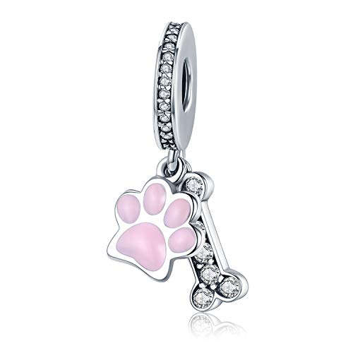 (MUERDOU 925 Sterling Silver Charm fit Pandora Charms Bracelet Necklace Pink Enamel Dog Paw Girl Family Tree Charm Birthday Gifts Jewelry (Dog paw Charm))
