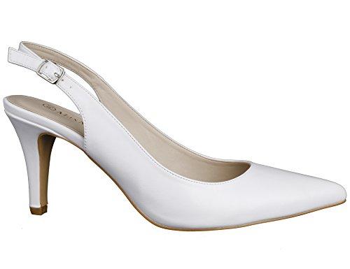 Mujer Blanco De Tacón Zapatos Aguja Alto Maxmuxun YRFX7ax