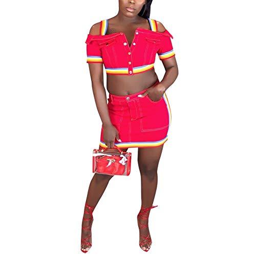 (Women Sleeveless Denim Rainbow Stripe Tank Crop Top Short Skirts Set 2 Piece Mini Dress RED S)