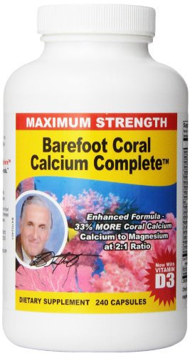 Barefoot Coral Calcium Complete 1500mg, 240 Capsules- Coral Calcium Supplement Developed By Bob Barefoot- Supports Bone Health & PH Levels- Contains Calcium, Magnesium, & Vitamins
