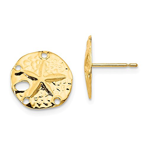 14k Yellow Gold Sand Dollar Sea Star Starfish Post Stud Earrings Animal Life Fine Jewelry Gifts For Women For Her ()