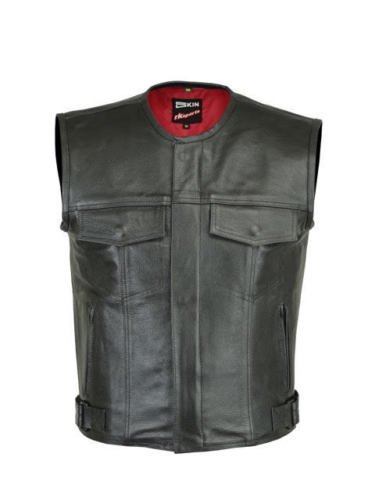 RKsports LEVI Mens Motorcycle Biker Waistcoat Full Leather Black Gillet Vest Cut Zipper Pocket NewLeviWC_2XL