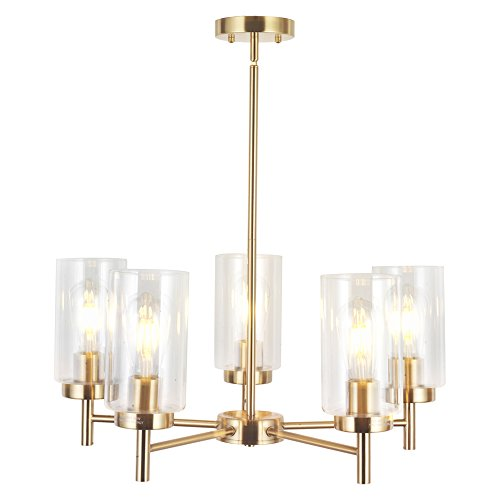 VINLUZ Contemporary 5-Light Large Chandelier Lighting Modern Clear Glass Shades Pendant Lamp Brushed Brass Rustic Dining Room Lighting Fixtures Hanging Adjustable Wire Semi -Flush Ceiling Lights For Sale