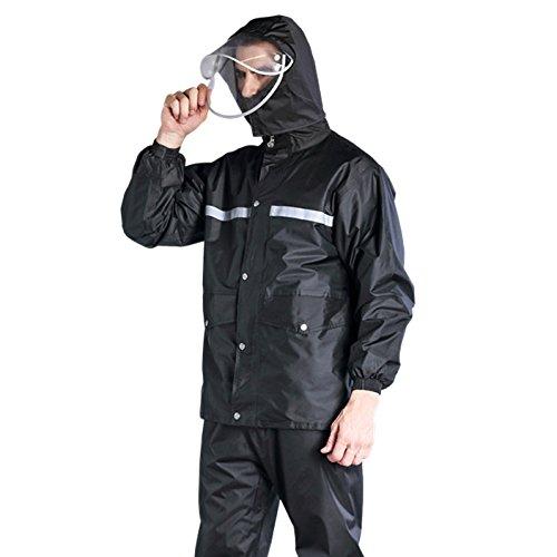 レインウェア 上下セット メンズ レインスーツ 二重構造帽子 フード付き 通湿性 防水 軽量 セパレート 快適 高品質 自転車 バイク 通勤に対応 アウトドア 着脱式合羽 ブラック 赤 Mー4XL B07D6KYX4G M|ブラック ブラック M