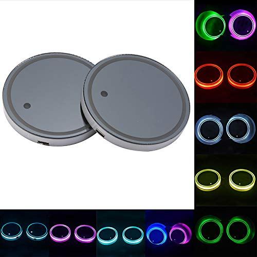 niceeshop LED Car Cup Holder Lights, (TM) 2PCS Waterproof Bottle Drink Coaster Mat Pad Built-in Light & Vibration Sensor USB Rechargeable Light for Car/SUV/Truck/Boat, 8 - Led Cup