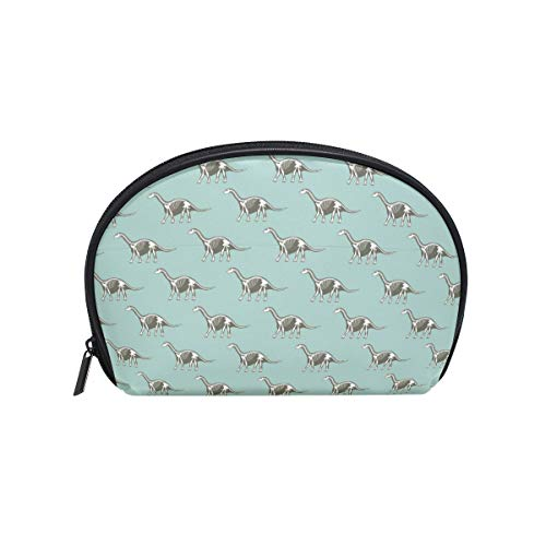 Kespeare Half Moon Cosmetic Beauty Bag Travel Handy Organizer Pouch Dinosaurs Skeletons Silhouettes Cosmetic Bags
