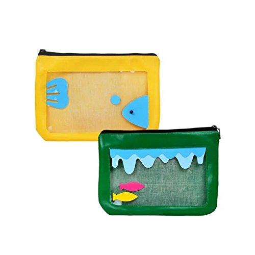 Garrelett Cartoon Clear Transparent Plastic PVC Bag Handbag with Top Zipper for Women Girls, Mini Storage Bag Cosmetic Toiletry Pouch Travel Bag (2PCS Yellow and Green) ()