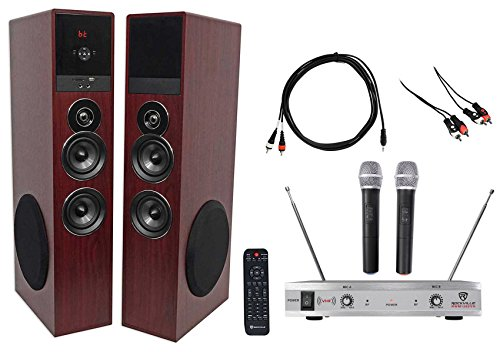 Rockville Bluetooth Home Theater/Karaoke Machine System w/(2) Subs+Wireless Mics