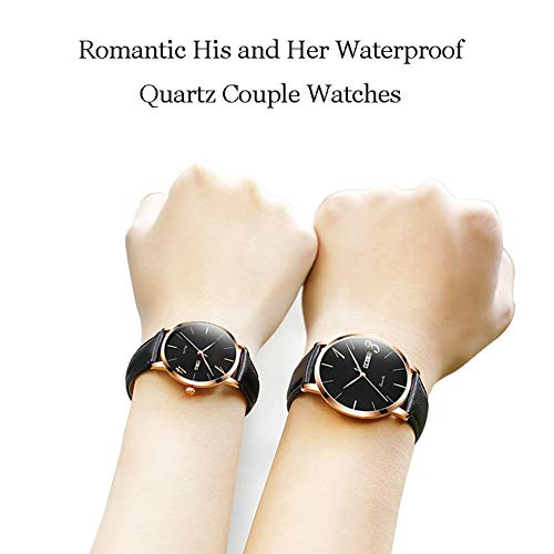 N·XHXL 2 st matchande set för män och kvinnor, romantiska hans och hennes armbandsur, 3ATM vattentät/äkta läderrem