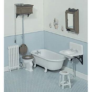dollhouse miniature 112 scale bathroom kit white