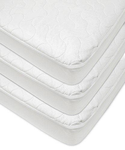 American Baby Company Waterproof Fitted Quilted Crib and Toddler Protective Pad Cover, White, 3 Piece (Three Layer Throw)