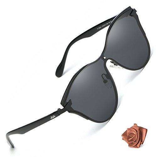 c3a4d819cc7 Aiblii Polarized Oversized Mirrored Sunglasses for Women Retro Black 48mm