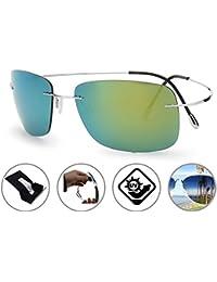 f577c17c7ed147 Rimless Lens Titanium Unbreakable Frame Polarized Lightweight Sunglasses ·  Zando