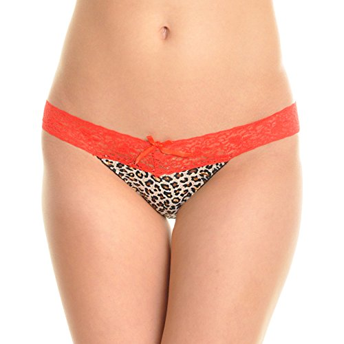 Angelina Leopard Print Thong with Lace Waist (6-Pack), B736P_M