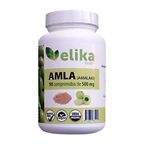 AMLA orgánica/ bio-90 comprimidos (no cápsulas) 500 mg a base de polvo- fortalecimiento del pelo- regula el colesterol, triglicéridos- reduce la ...