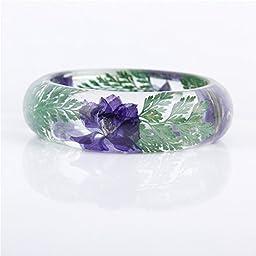 Lucite Handmade Real Flower Botanical Garden Jewelry resin bangle bracelet. {51} Size 64mm, height 23mm