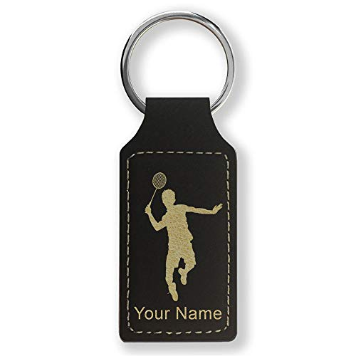 Rectangle Keychain, Badminton Player, Personalized Engraving Included (Black with Gold)