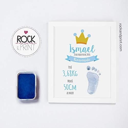 Cuadro para huella de bebé con tinta y marco. Elige el color de la ...