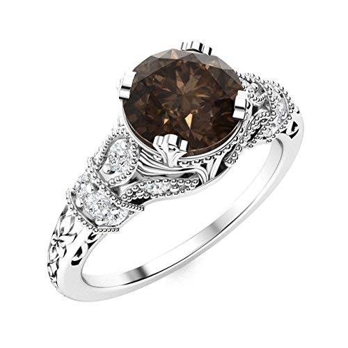 Diamondere Natural and Certified Smoky Quartz and Diamond Engagement Ring in 14K White Gold | 1.11 Carat Art Deco Engagement Ring for Women, US Size 7