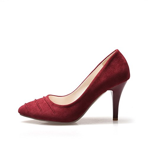 VogueZone009 Women's Solid Flock Spikes Stilettos Pointed Closed Toe Pull On Pumps-Shoes Claret innUK