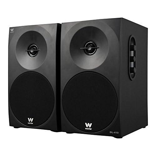 chollos oferta descuentos barato Woxter Dynamic Line 410 Altavoces estéreo 2 0 Autoamplificados con 150W de potencia Madera Woofer de 4 pulgadas 2 Tweeter 3 5 mm RCA Control volumen agudos graves Bookself Speakers Negro