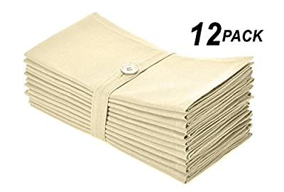Cotton Craft Napkins, 12 Pack Oversized Dinner Napkins 20x20, 100% Cotton, Tailored with Mitered corners and a generous hem, Napkins are 38% larger than standard size napkins - Easy care machine wash